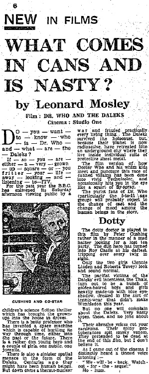 Dr Who And The Daleks review (Express, 23 Jun 1965) (Credit: Express)